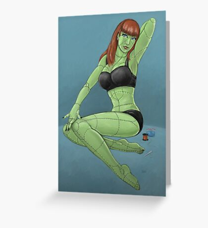 Stitched - Retro Monster Pinup Greeting Card