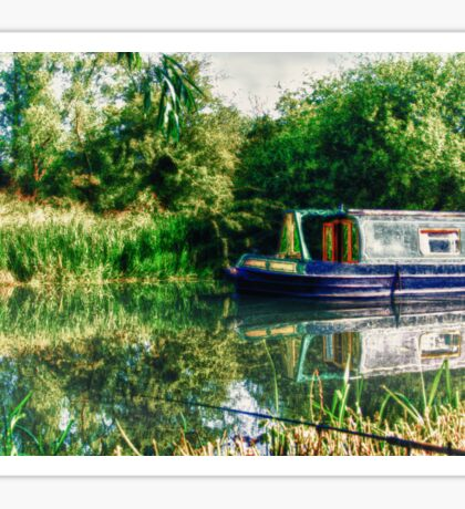 Narrowboat on the River Sticker
