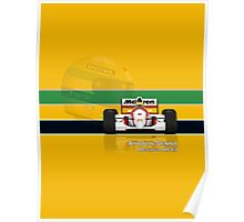 Ayrton Senna - McLaren MP4/8 with Helmet colours Poster