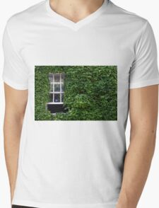 Window on leafy Cotswolds house facade, UK Mens V-Neck T-Shirt