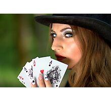 Professional poker woman Photographic Print