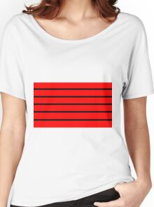 Red - Black Lines Women's Relaxed Fit T-Shirt