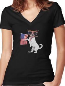 American pug Women's Fitted V-Neck T-Shirt