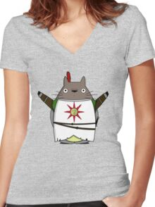 Praise the Totoro Women's Fitted V-Neck T-Shirt