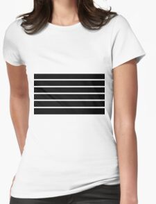 Black - White Lines Womens Fitted T-Shirt