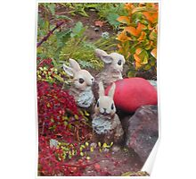 bunnies collecting colors for Easter * Poster