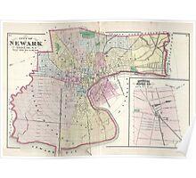 Vintage Map of Newark NJ (1872) Poster