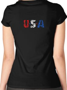 U S A Women's Fitted Scoop T-Shirt