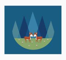 Cute Baby Deer Illustration One Piece - Short Sleeve