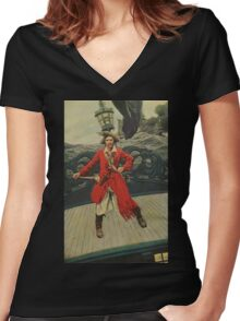 Pirate Captain Women's Fitted V-Neck T-Shirt