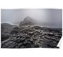 Early foggy morning in the land of hexagonal stones Poster