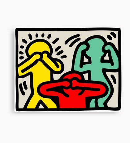Keith Haring 3 Monkey Canvas Print