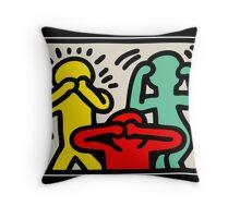 Keith Haring 3 Monkey Throw Pillow