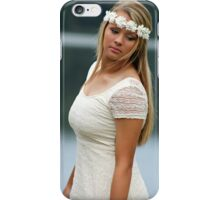 Blonde girl wearing a white dress near lake iPhone Case/Skin