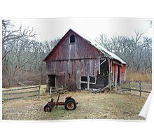 Old Barn and Tractor Poster