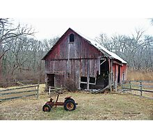 Old Barn and Tractor Photographic Print