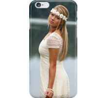 Blonde girl wearing a white dress near lake II iPhone Case/Skin