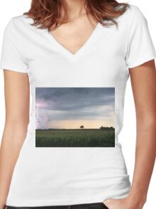 Lightning on a Farm Women's Fitted V-Neck T-Shirt