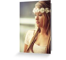 Blonde girl wearing a  Collar responded to her head Greeting Card