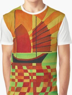 Junk on Sea of Green Cubist Abstract Graphic T-Shirt