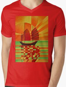 Junk on Sea of Green Cubist Abstract Mens V-Neck T-Shirt