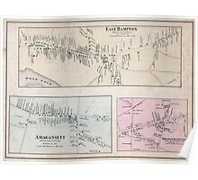Vintage Map of The Hamptons (1873) Poster