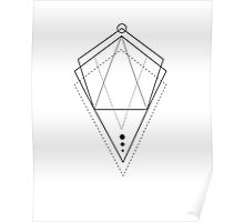 Hologram geometry white Poster