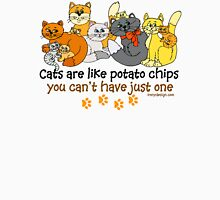 Cats are like potato chips Womens Fitted T-Shirt