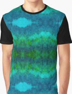 Blue-Green Watercolor Pattern Graphic T-Shirt
