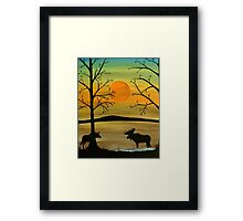Meeting of the moose Framed Print