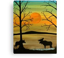 Meeting of the moose Canvas Print