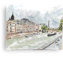 Paris Seine with Eiffel Tower Canvas Print