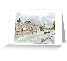 Paris Seine with Eiffel Tower Greeting Card