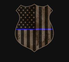 Thin Blue Line American Flag Police Badge Unisex T-Shirt