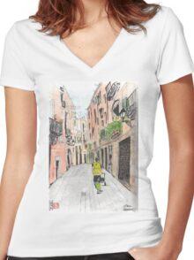 Barcelona - El Born Neighborhood Women's Fitted V-Neck T-Shirt