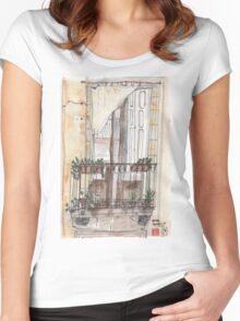 Barcelona Terrace in El Born Women's Fitted Scoop T-Shirt