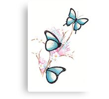 Watercolour Butterflies on Apple Blossom Canvas Print