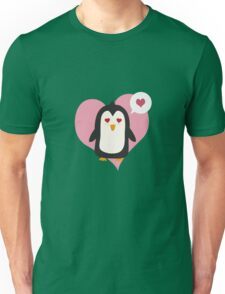 Penguin with a heart   Unisex T-Shirt