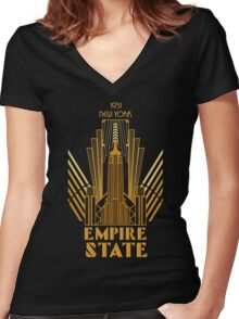 The Empire State Building in art deco style, NY Women's Fitted V-Neck T-Shirt