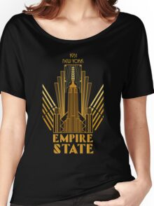 The Empire State Building in art deco style, NY Women's Relaxed Fit T-Shirt