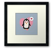 Penguin with a heart   Framed Print