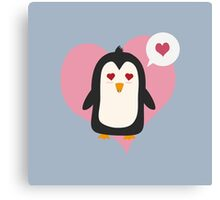 Penguin with a heart   Canvas Print