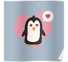 Penguin with a heart   Poster