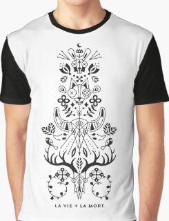 La Vie + La Mort: Black Ink Graphic T-Shirt