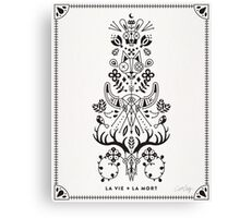 La Vie + La Mort: Black Ink Canvas Print