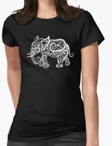Curly Elephant Womens Fitted T-Shirt