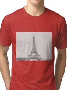 Black & White Paris France Eiffel Tower Tri-blend T-Shirt