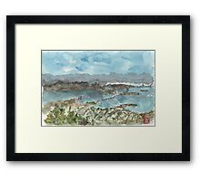 A sketch of San Francisco Bay from Grizzly Peak Framed Print