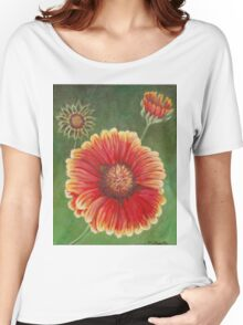 Red and Yellow Gaillardia Flower Women's Relaxed Fit T-Shirt