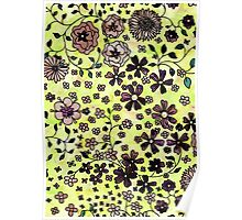 Brown Small Flowers Poster